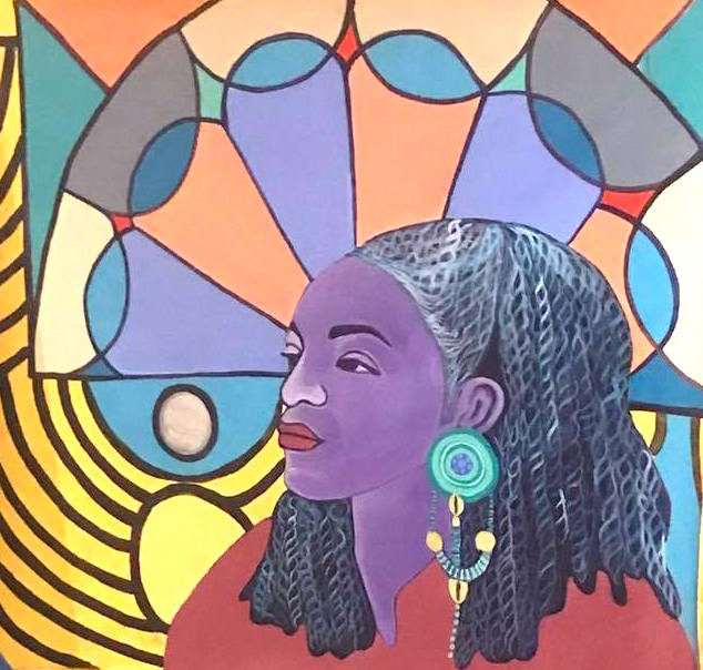 Dreams as Reality-Portrait of Faith Ringgold section of Spirit of Crown Heights mural, acrylic on parachute cloth, Brooklyn, NY