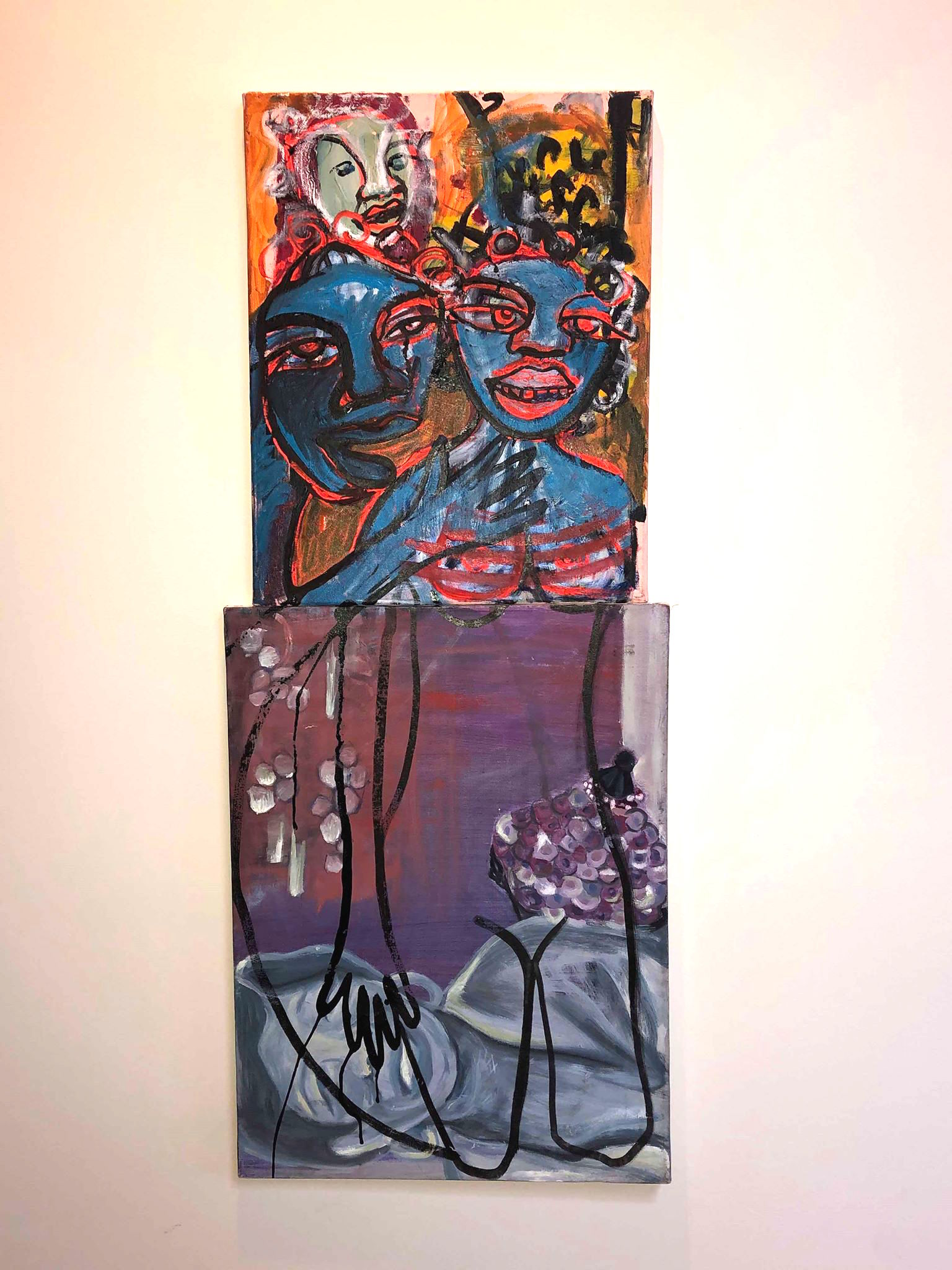 Certified & Guaranteed acrylic, ink and pastel on canvas diptych 2017