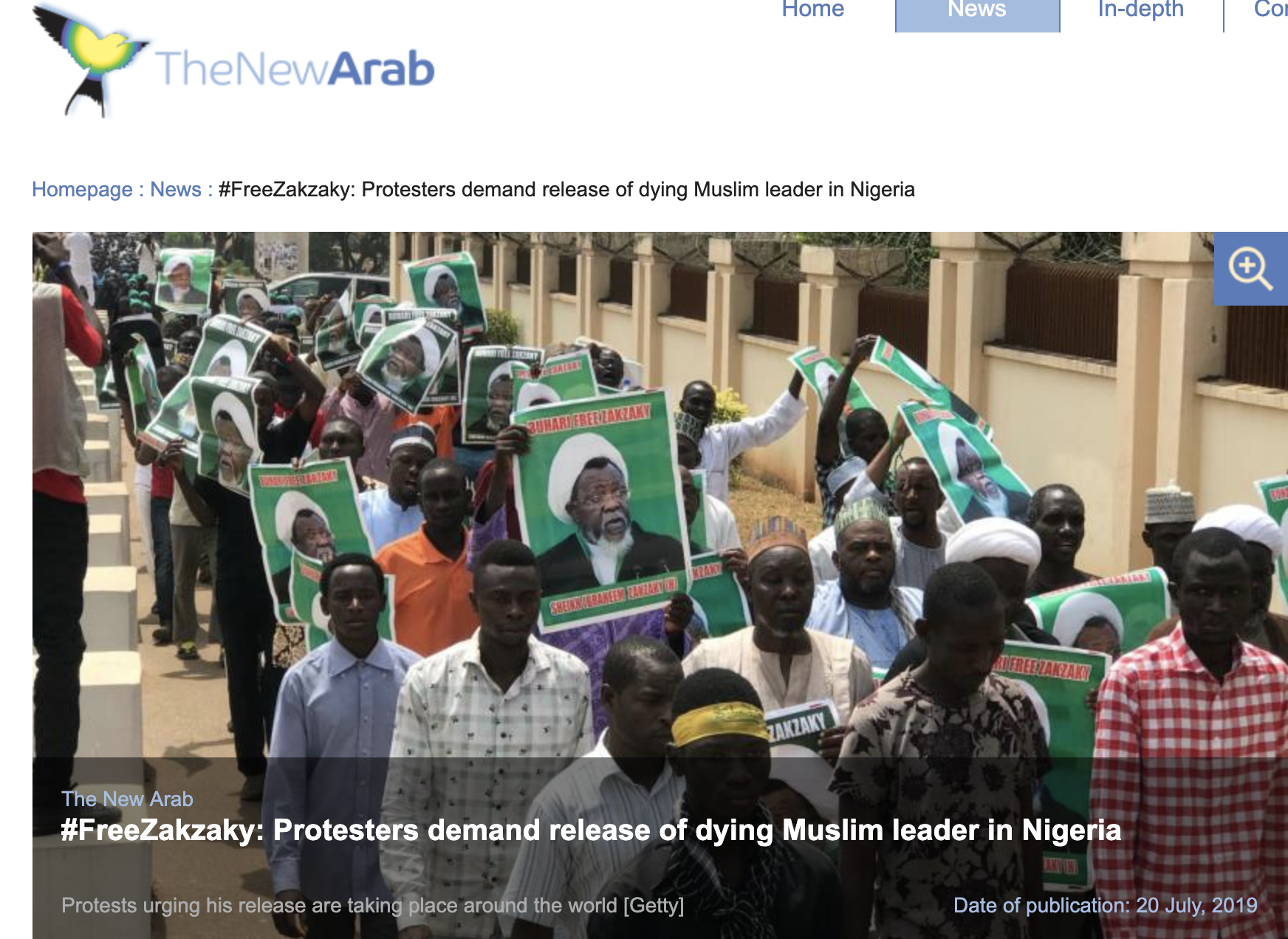 "READ THE FULL ARTICLE - ""Hundreds of demonstrators are protesting across major cities around the world urging the immediate release of a prominent Shia Muslim leader in Nigeria who is"