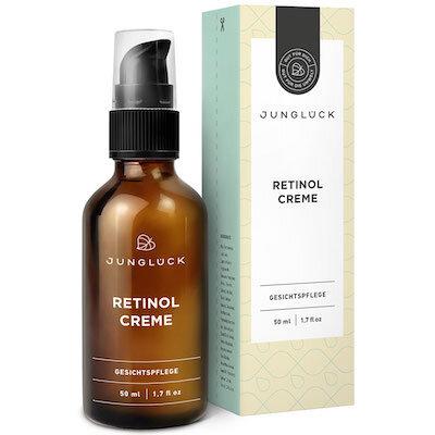 Retinol Creme - NaturkosmetikVeganStraffende WirkungVerbesserung des HautbildesStimuliert das Kollagen der HautPreis: 50ml, 24,99 EuroErhältlich: Junglück, Amazon