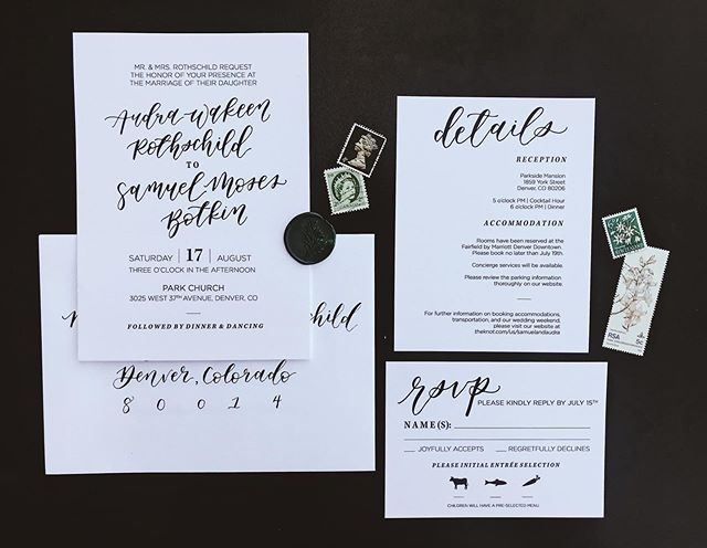 Happy Wedding Day Audra + Samuel! What a joy it was to create your classy, minimalist, and timeless invitation suite. Wishing you the best day ever! 💓 —  #weddingstationery #customweddinginvitations #wedding #denverwedding #denverbride #calligraphy #calligraphylove #custom #envelopeaddressing #minimalist #stationery #stationeryshop #idahocalligrapher #summerwedding #parksidemansion #handlettering #bespokeinvitations
