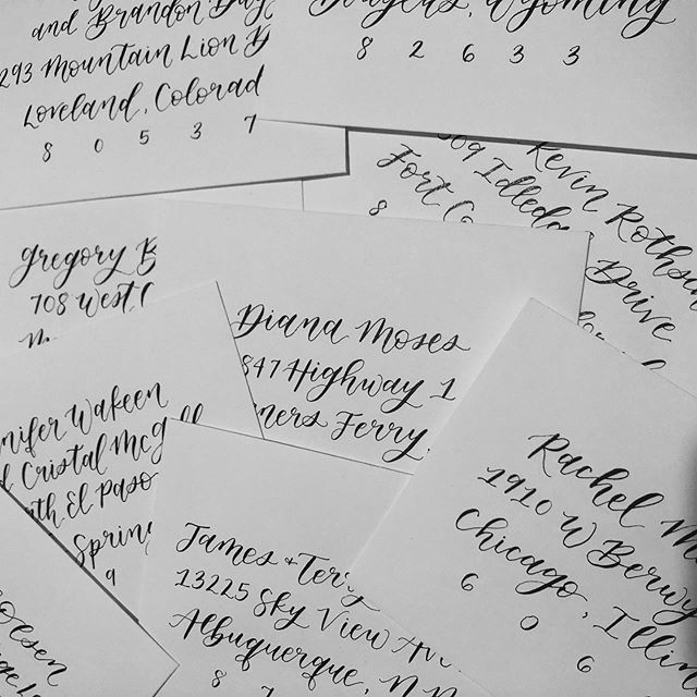 i love addressing envelopes. your wedding invitations are the first impression of your big day, so that means your envelopes are the first FIRST impression. why not make them amazing?! #calligraphy #calligraphylove #envelopecalligraphy #envelopeaddressing #customweddingstationery #customweddinginvitations #wedding #dailydoseofpaper #sendmoremail #PNWcalligrapher #idahocalligrapher