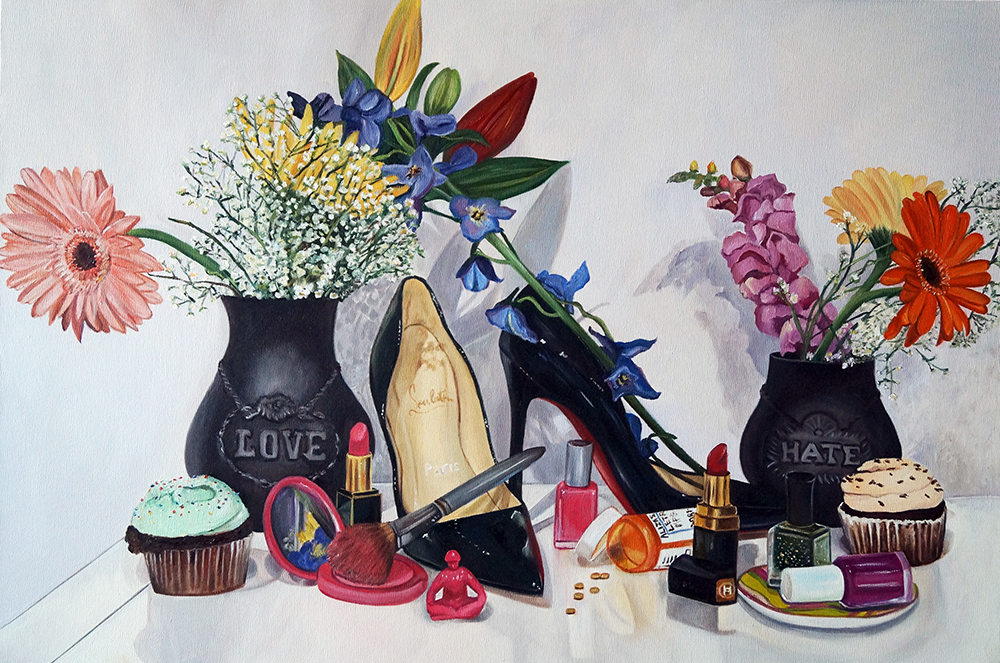 Still Life with Pumps & Flowers
