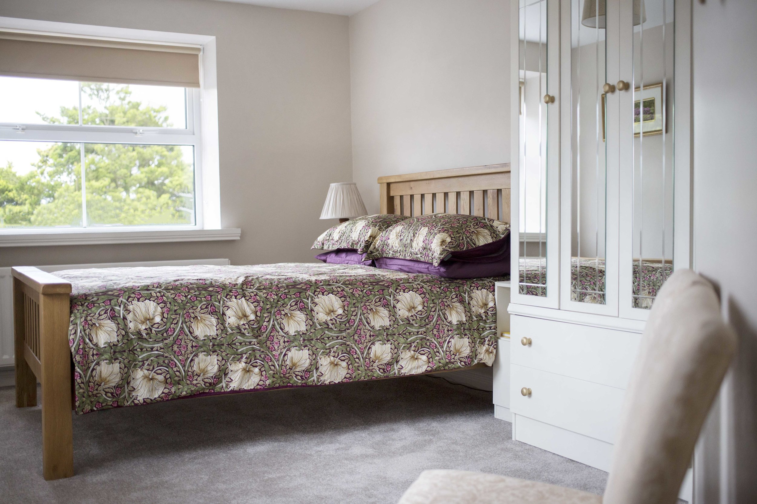 pimpernel & wild rhododendron. room 1 - Located on ground floorDouble solid oak bed & pocket spring mattressSeated area with hospitality trayDisability friendlyStandard ensuite with shower facilityFrom £40 pp based on two sharing.Single supplement - additional £20 applies.