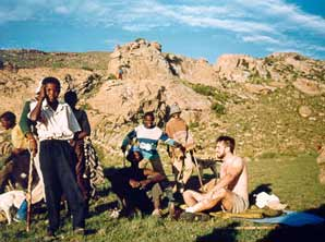 [Jedd with shepherd boys in Lesotho - photo by foursoulsthebook.com]