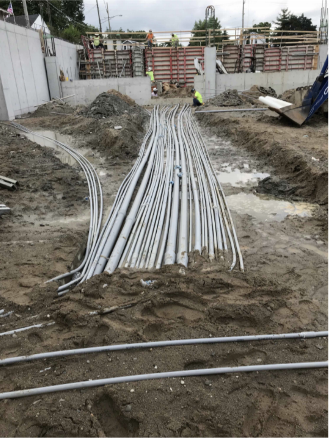 """Installation of underground electrical conduit in area """"A"""""""