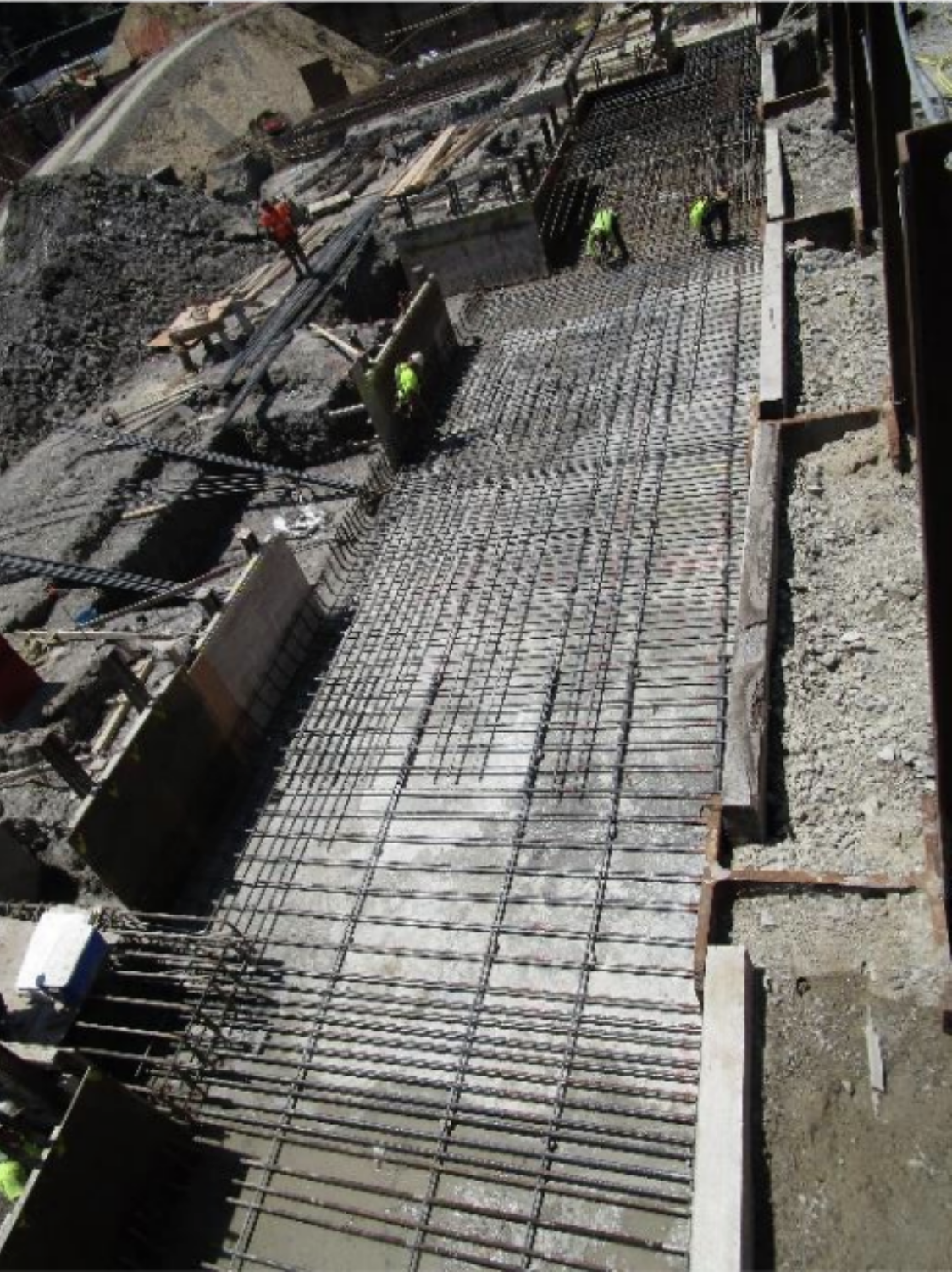 In the process of installing foundation reinforcement along grid A from grids 4 to 8
