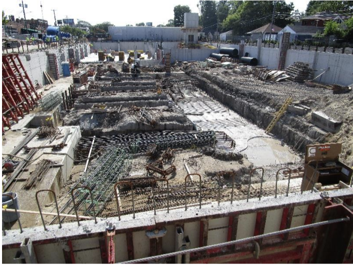 In the process of installing reinforcement for the remainder of the foundations (Grid B between 3-6 and grade beams).