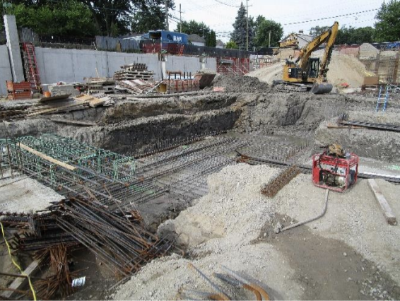 Blaze was in the process of excavating along grid B for the remaining foundations.