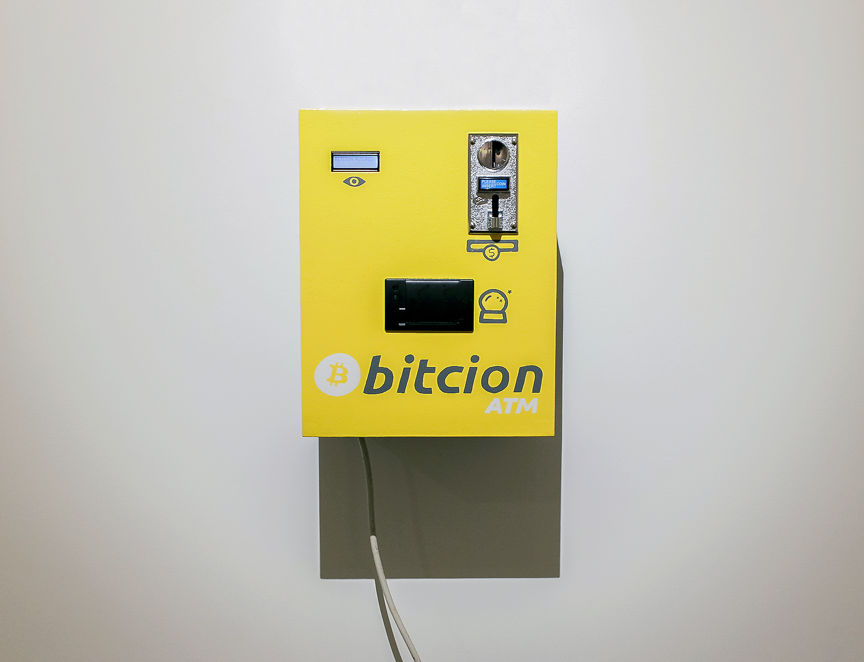 """Bitcoin Futures   Interactive sculpture comprised of wood,  electronics, LCD display, thermal printer, digital coin acceptor, paint; 16"""" x 12.5"""" x 10.5"""" Anxious to Make, 2018"""