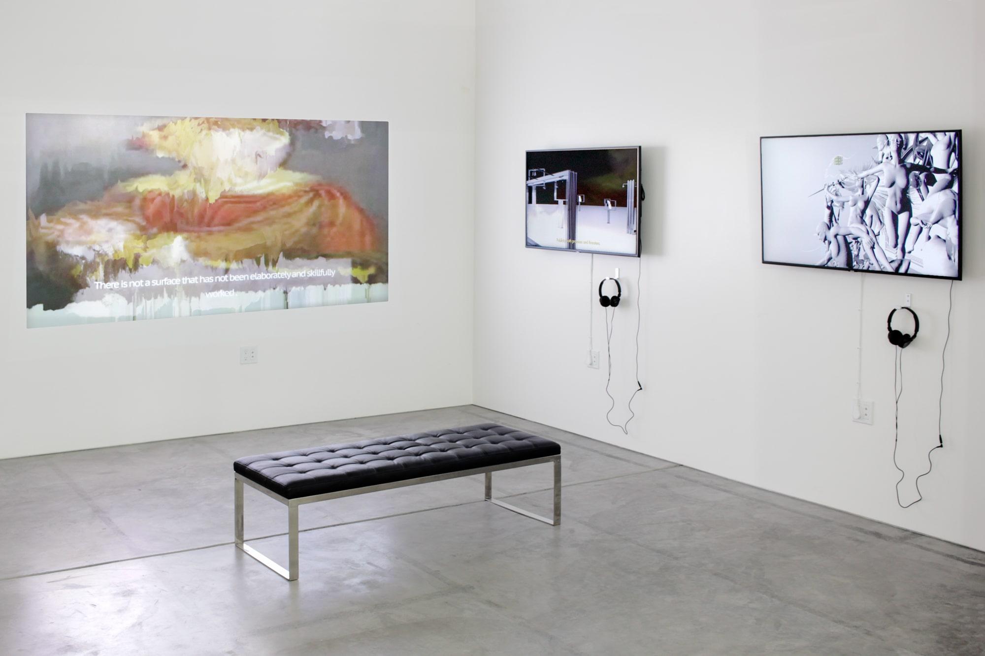 Installation View: Adam Ferriss, episode # 3 , minute 11 + Morehshin Allahyari, episode # 4 , minute 14 + V5MT, episode # 1 , minute 13