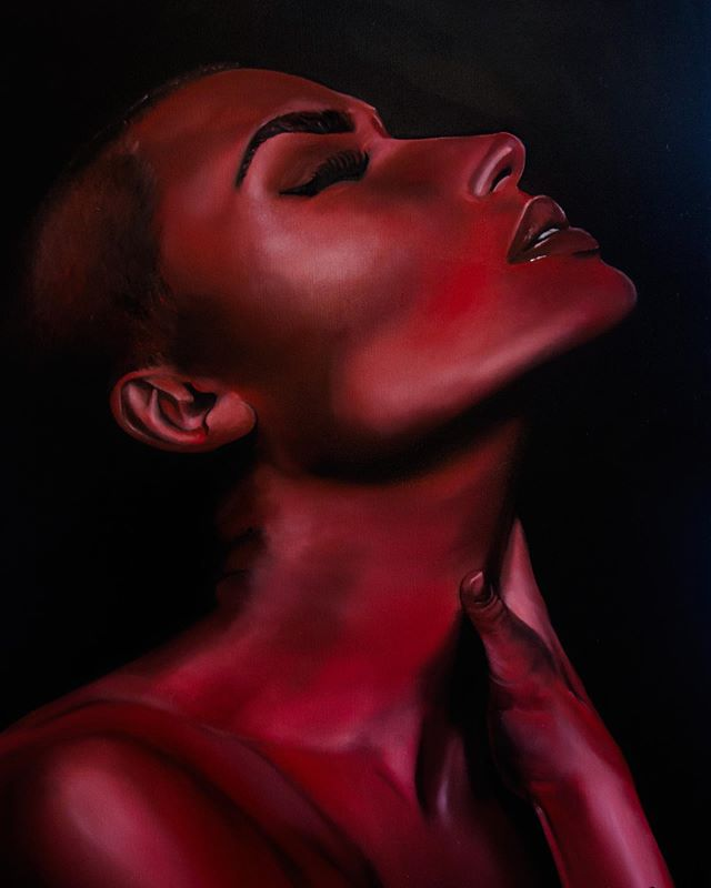 Tb. Oil on canvas I did of this beautiful human @vendela Congrats on your engagement!