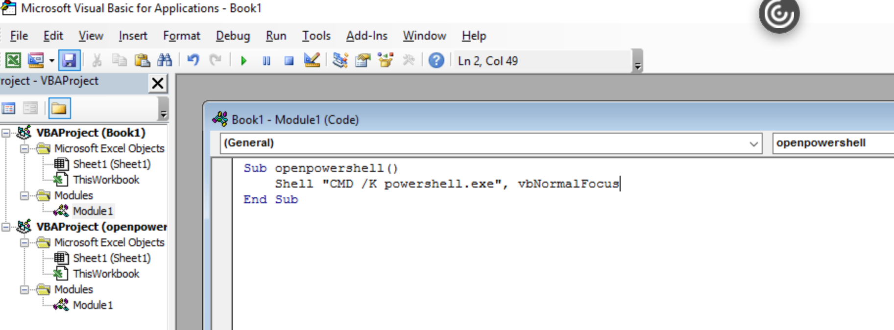 """Shell """"CMD /K powershell.exe"""", vbNormalFocus"""