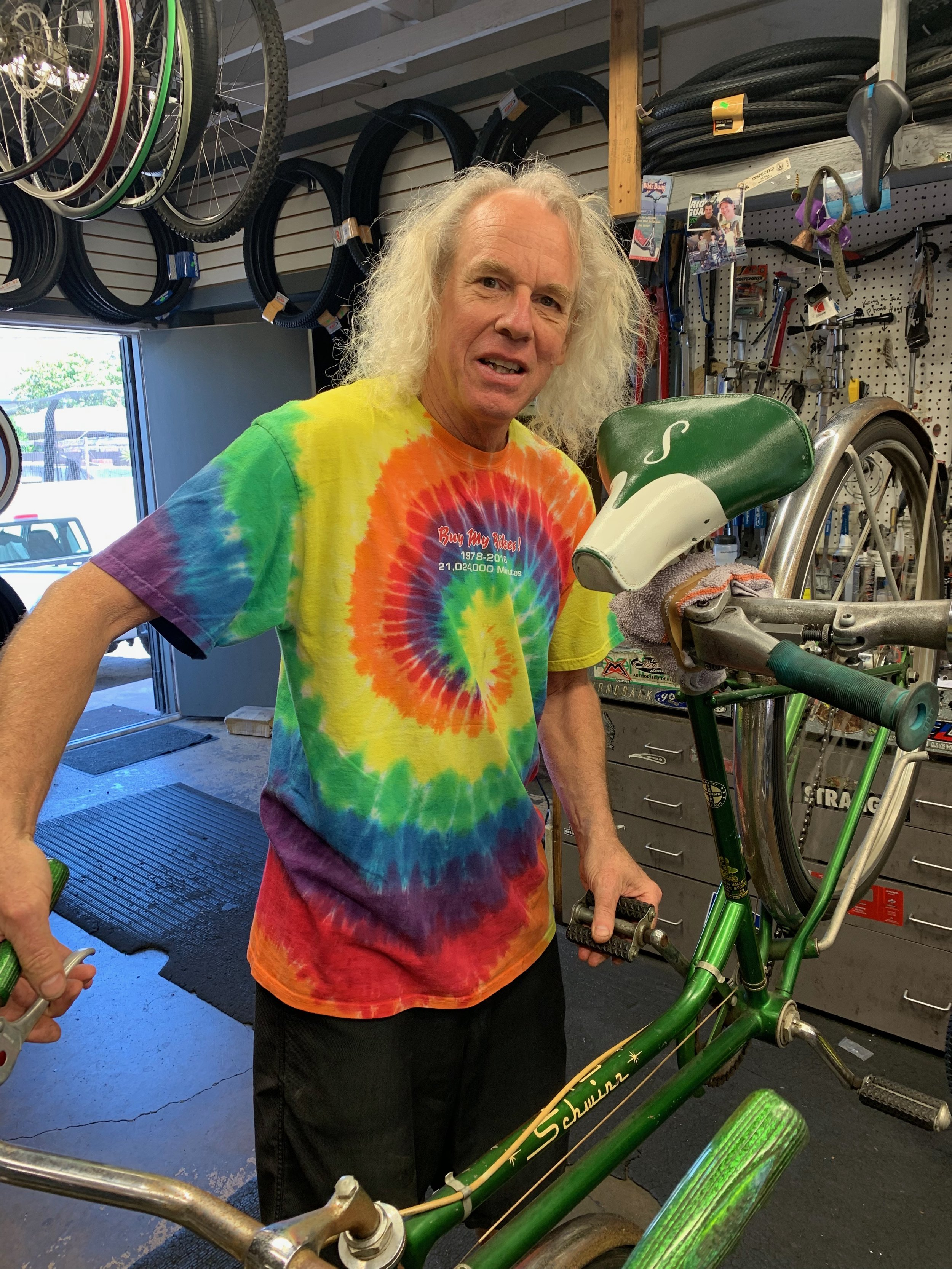 """Kenny - Master fixer, known as the MacGyver in the bike shop. And on days off ...surfing, skating and eating Mexican food keeps him happy. """" I am laid back because I was born and raised near the ocean."""""""
