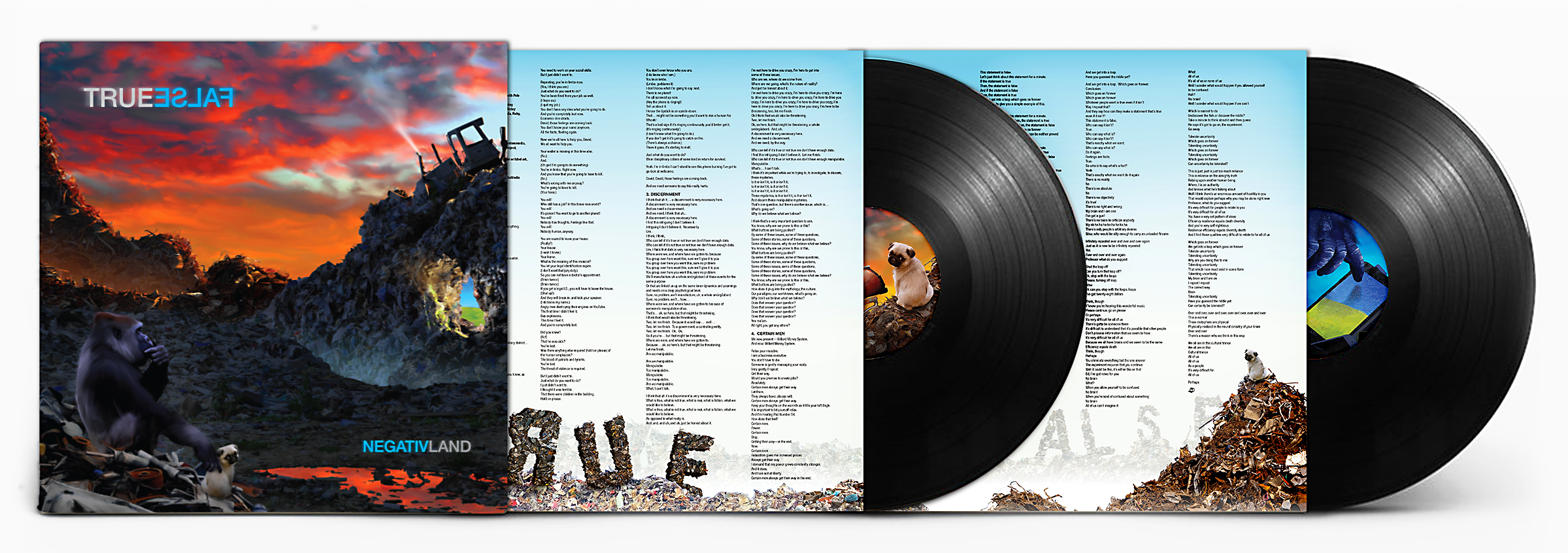 """TWO WORDS THAT DESCRIBE THE SAME THING: NEGATIVLAND'S NEW ALBUM IS TRUE FALSE - Help us help you hear Negativland's new album, True False. Your purchase today of this double vinyl album will help fund the printing and pressing costs of getting this thing made and into your hands by early fall. Your advance purchase of the LP directly from us will come with two """"advance-purchase-only"""" thank you goodies and will ship to arrive October 25th, 2019. Scroll down for more details on the album and the goodies."""