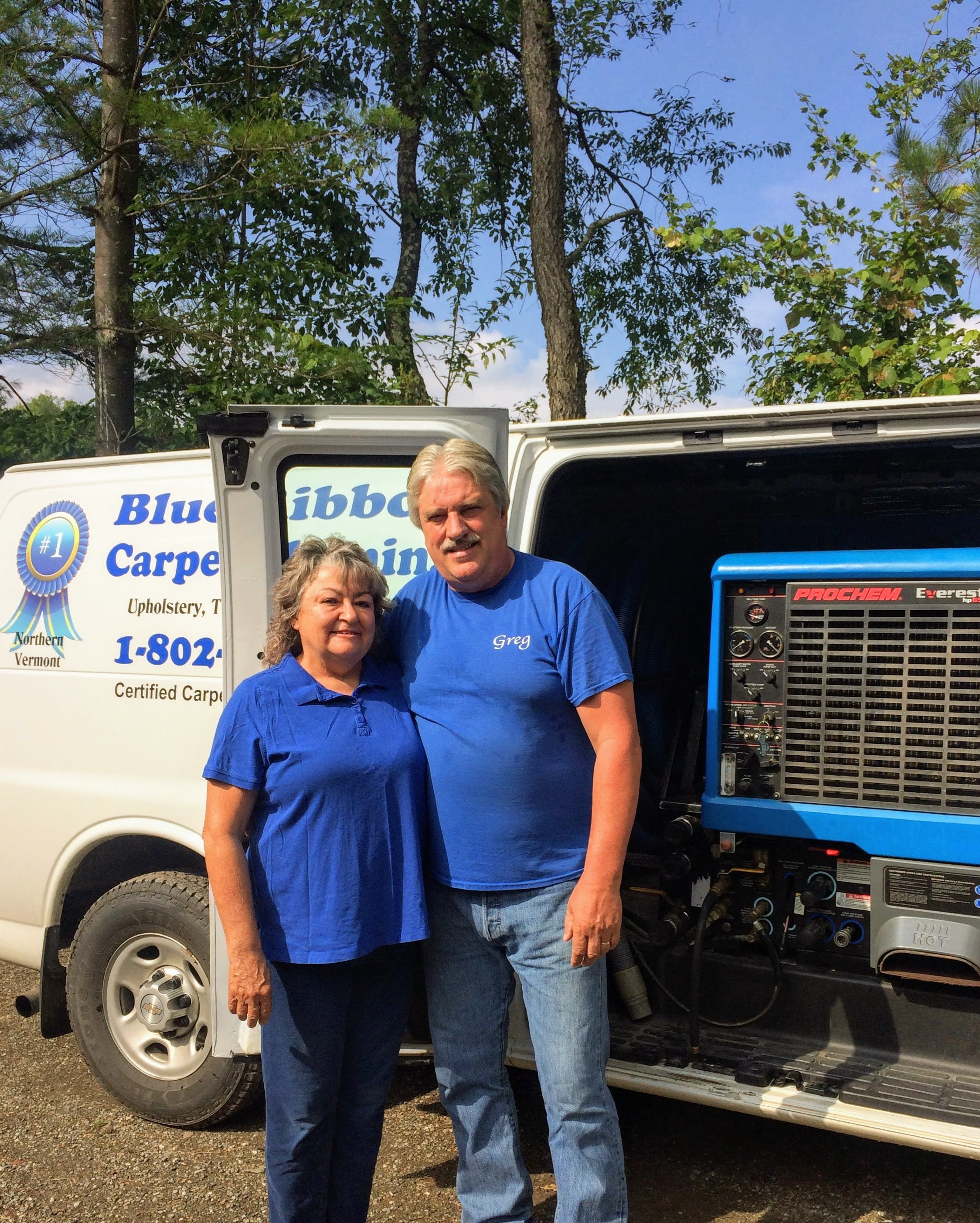 Nice to meet ya! - We are Greg & Kathy Stevens. A husband & wife team who love rockin' out at concerts, soaking up the great Vermont outdoors, along with the gorgeous views from our side-by-side as we explore the vast mountains.As avid pet lovers, we know first hand the positive effects that regularly + professionally cleaned carpets can have on our health.That's one reason we pride ourselves on making sure our friends, family and wonderful clients are breathing the cleanest air possible, whether in our home and business or theirs.