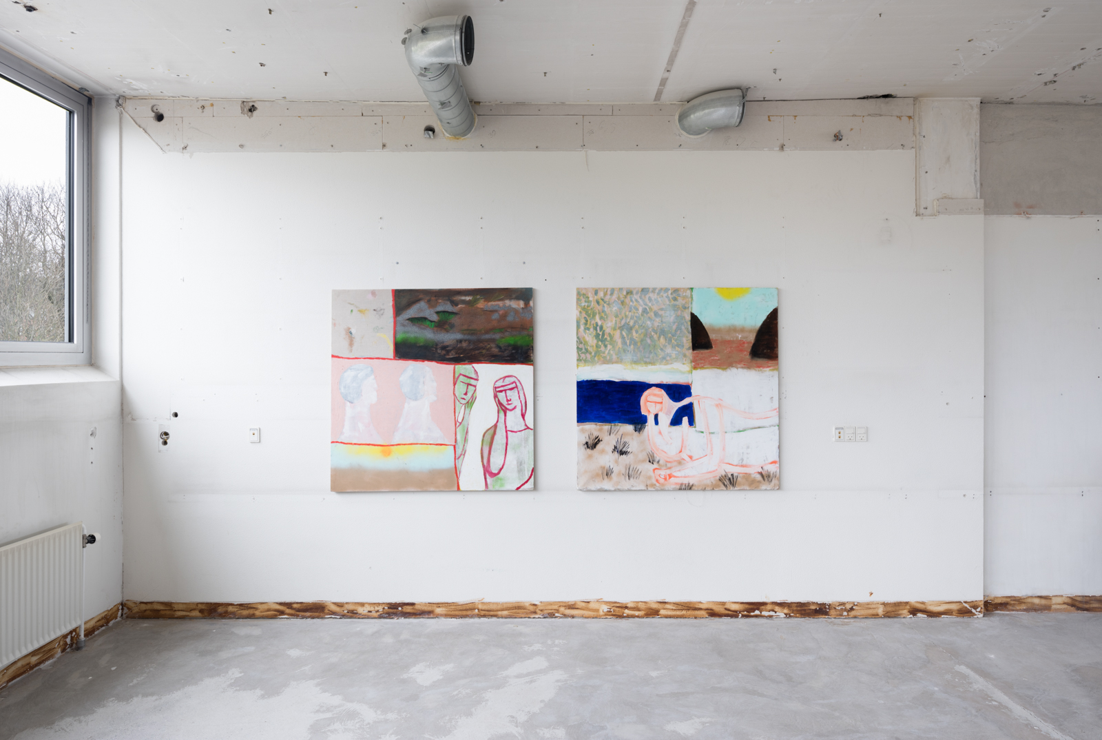 Left:  Losing All Meaning , 2017   Spray, acrylics and oil on linen H: 120 cm W: 120 cm  Right:  It Became a Lying Woman , 2017 Spray, acrylics and oil on linen H: 120 cm W: 120 cm  Photo: David Stjernholm