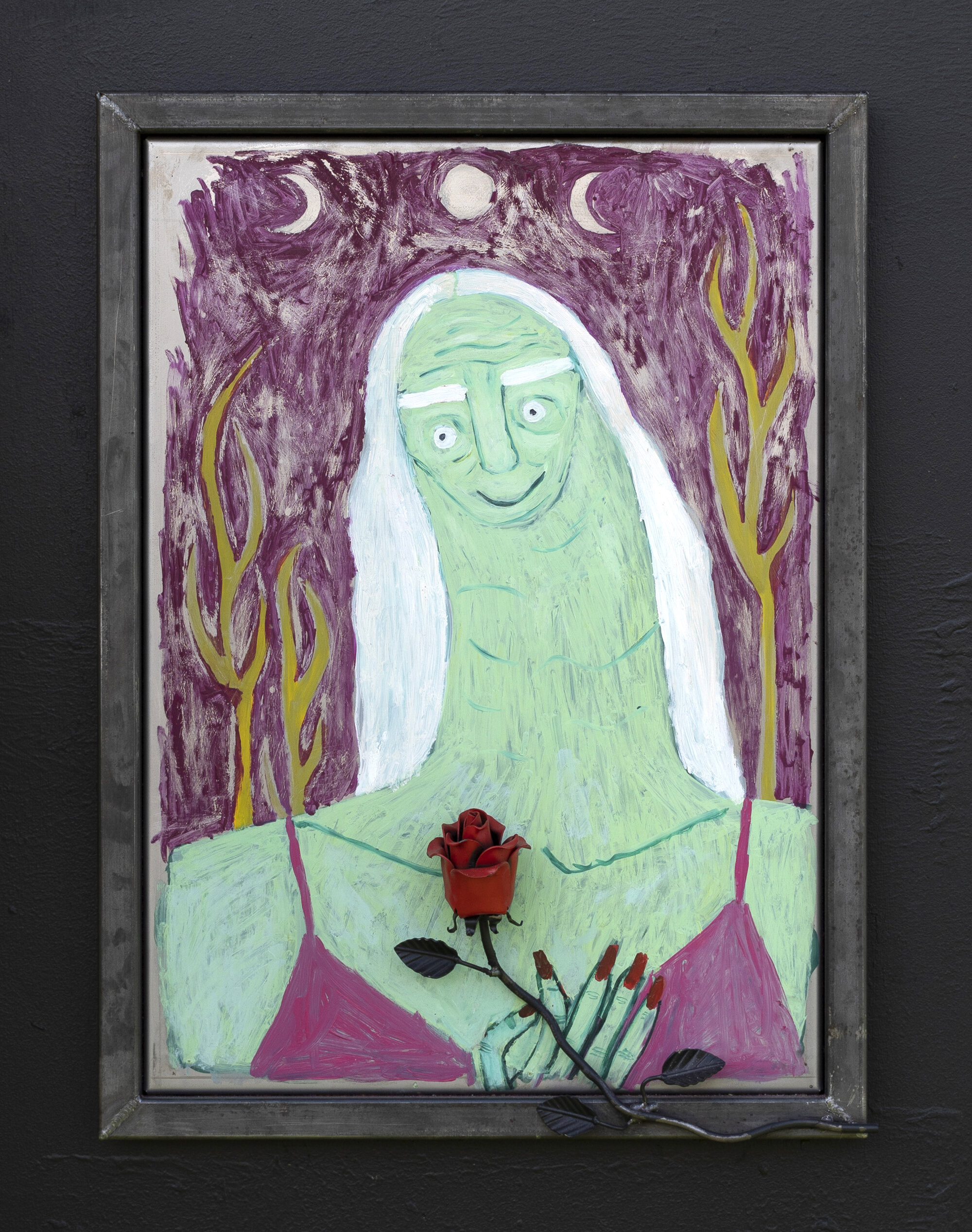 Not Stopping for Death  (Series of five works) 2019 Oil on iron, w. iron rose H: 75 cm W: 55 cm  Photo: Oskar Koliander