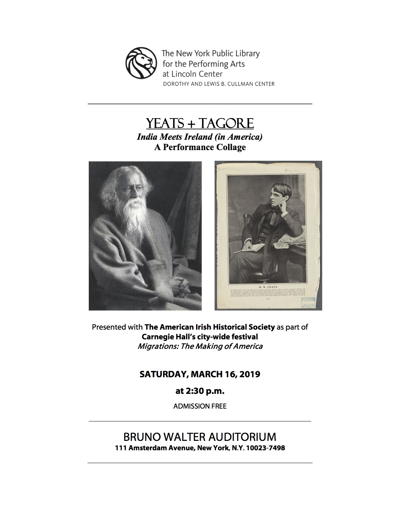 Yeats + Tagore: India Meets Ireland, A Performance Collage