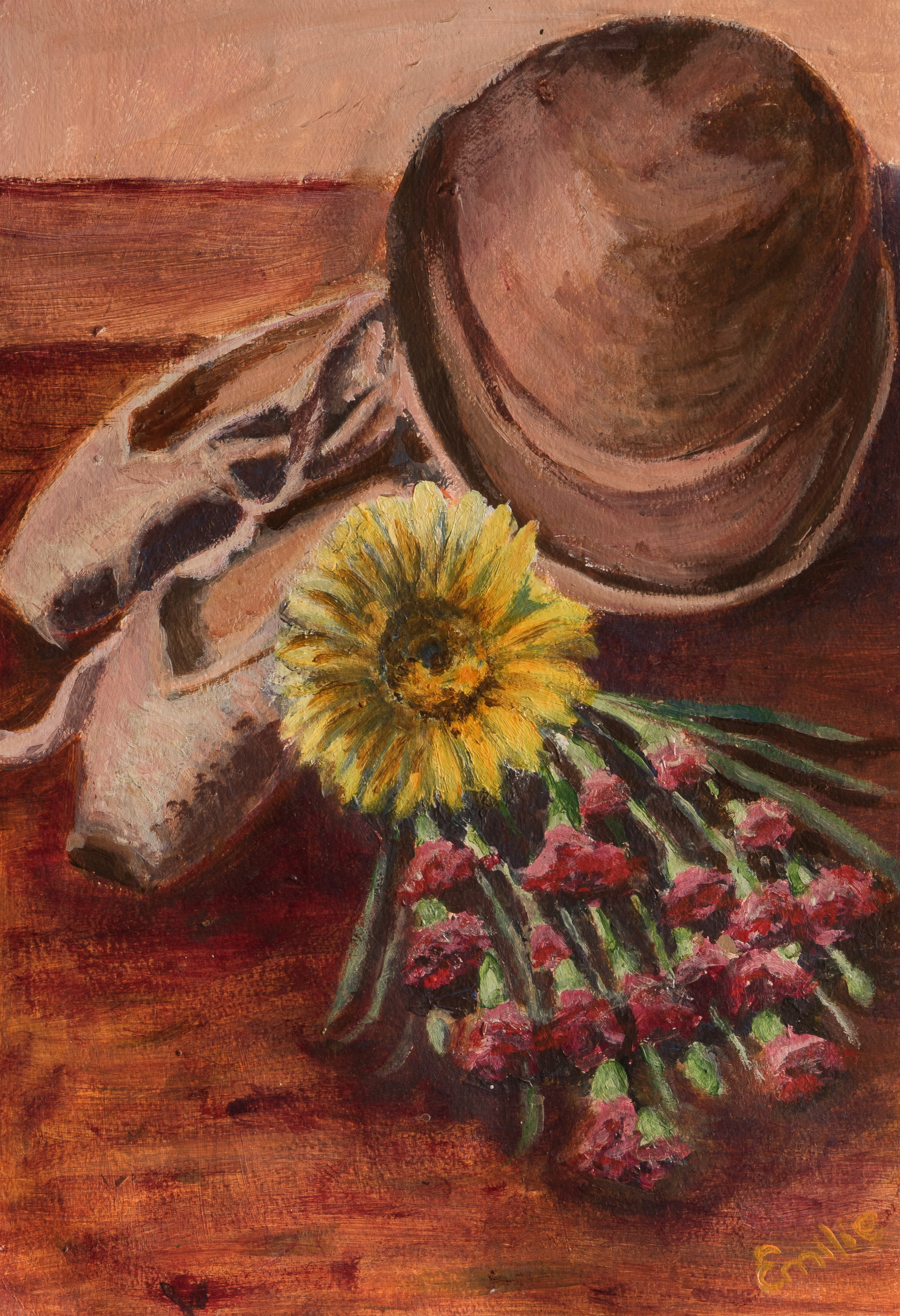 Emilie Stil Life Flowers with Ballet Shoes and Hat (acrylic).jpg