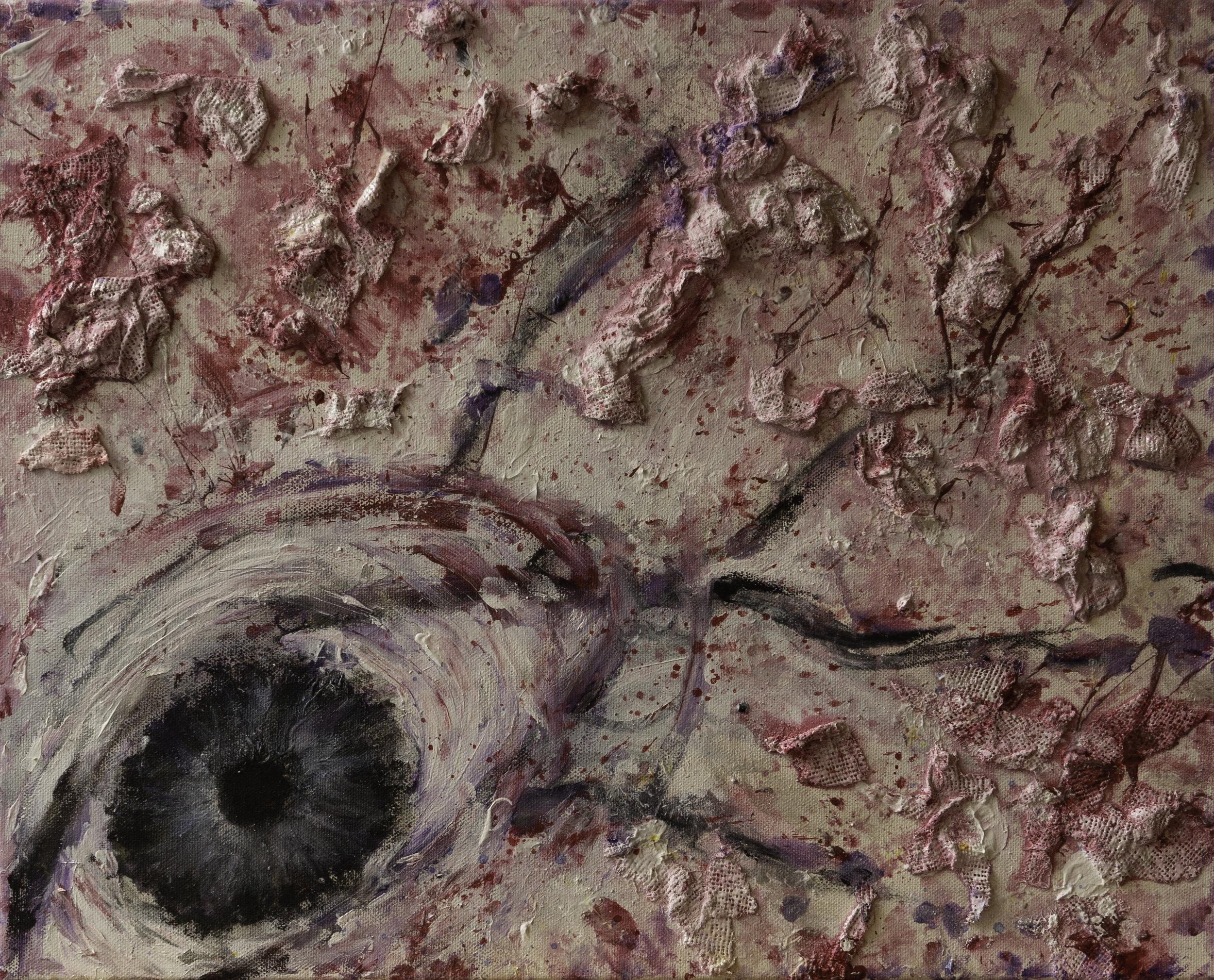 Being Watched, plaster bandage, acrylic, charcoal on canvas.jpg
