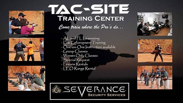 Severance Is proud to announce our new home training range. Tac-Site Training Center owned  by Severance team member Jason Bankston. Jason is a Law Enforcement/security professional with 24 plus years' experience in government, military, and security industries. His disciplines include civilian law enforcement, overseas urban combat, and counter insurgency experience,certified firearms instructor and RSO, ICITAP Master Instructor, Certified GLOCK Armorer, Commissioned level 3-armed security officer in the state of Texas, and POST Law Enforcement certified through the state of Alabama.Please check your calendar for up coming classes, or call (251) 978-7483 too setup custom classes tailored to you or your team. Come train where the pros do!  #BetterTrainingBetterSecurity
