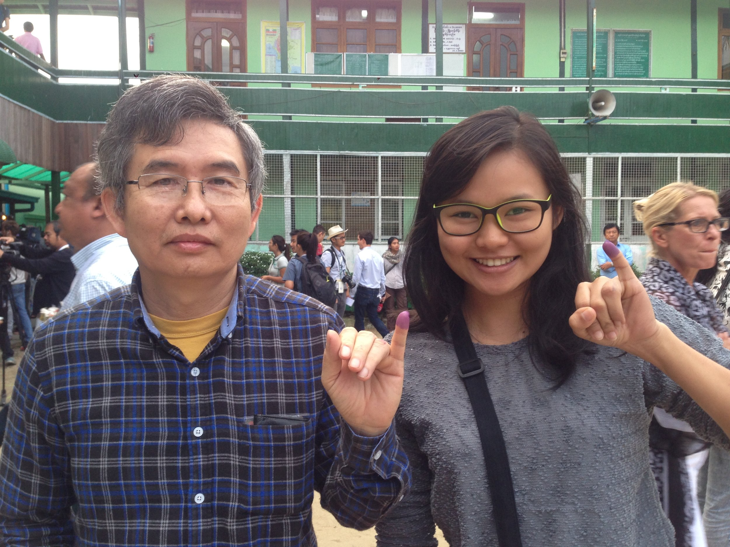 Gloria and her father after their historic vote… -