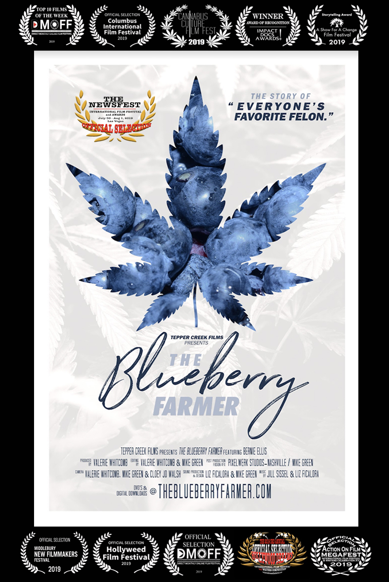 THE BLUEBERRY FARMER (Feature) by Valerie Whitcomb. - Bernie was bush hogging a pasture in 2002 when he noticed a helicopter circling above him. When it lowered to just over the treetops in a tight circle, he knew his life was about to change forever. Trace View farm was raided by the police that day and over 100 mostly small cannabis plants were confiscated as evidence by the police. Those plants had only around seven pounds of usable medical cannabis estimated to be on them. For almost 15 years, Bernie had been growing cannabis. Besides using it himself for his own ailments, including a degenerative spine and fibromyalgia, he was providing it for free to terminal AIDS and Cancer patients that he knew or who were referred to him.