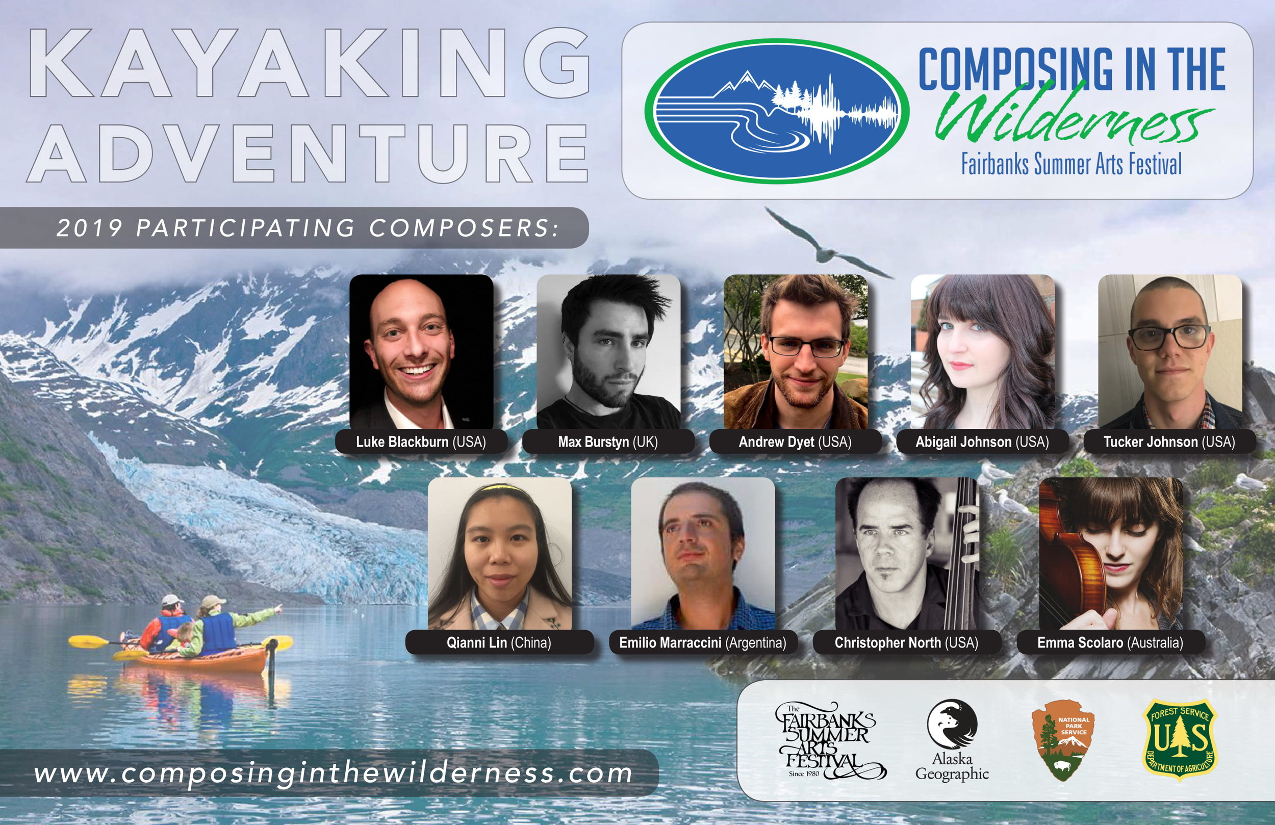 Composing in the Wilderness: Kayaking Adventure - I am honored to have been chosen for the 2019 Fairbanks Summer Arts Festival's Composing in the Wilderness trip. Led by adventurer-composer Nathan Lincoln-DeCusatis and designed for experienced acoustic or electroacoustic composers who want a more immersive backcountry experience, this field course will take nine participants on a week-long sea kayaking trip in spectacular Prince William Sound. Upon returning, the participants will have a couple of months to complete their pieces before the culminating concert takes place at Federal Hall National Memorial in New York City on November 22, 2019.