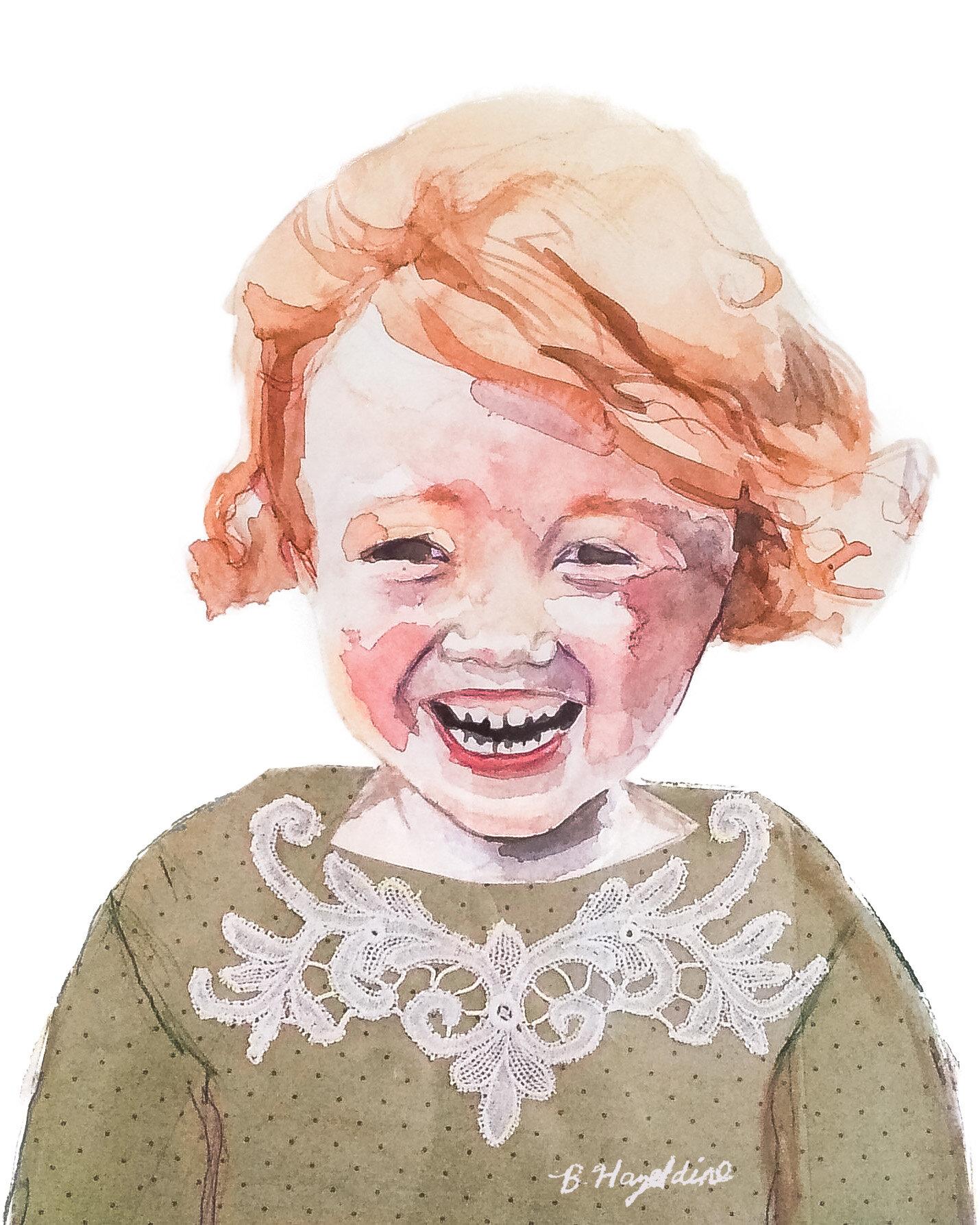 Redhead Girl with Big Smile. Children's Portrait Artist Surrey. Painting by Brittany Hazeldine.