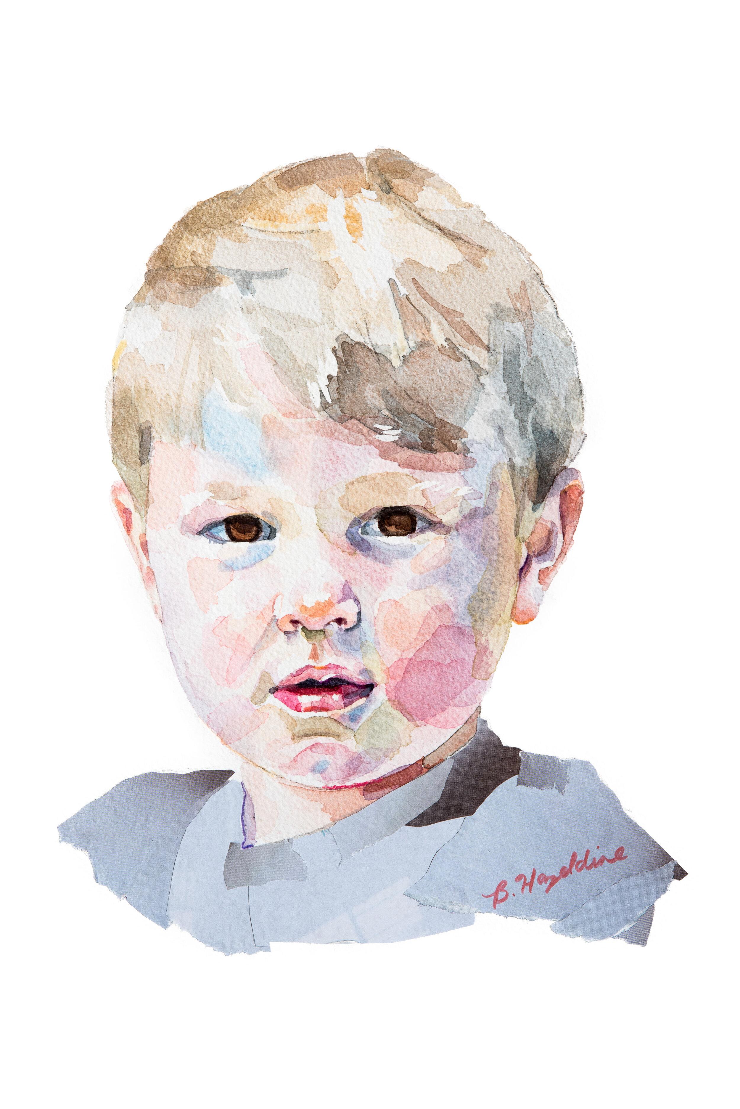 Boy in grey. Children's Portrait Artist Surrey. Painting by Brittany Hazeldine.