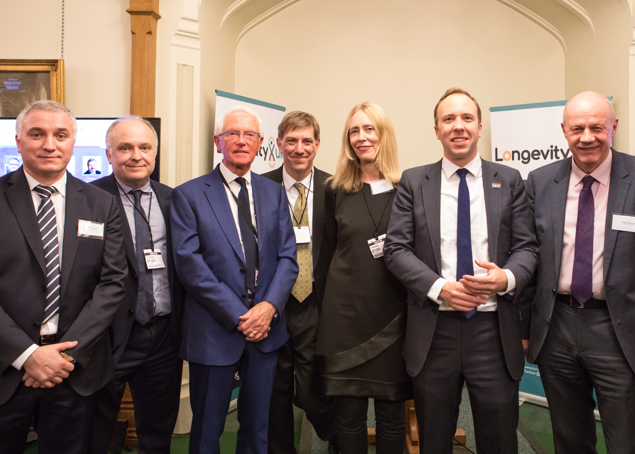 Launch of APPG for Longevity, House of Commons, 7 May 2019   The Secretariat with Rt Hon Damian Green MP (APPG Chair), The Lord Filkin CBE (Advisory Board Chair), Professor Andrew Scott (Advisory Board Member) and Rt Hon Matt Hancock MP, Secretary of State for Health and Social Care