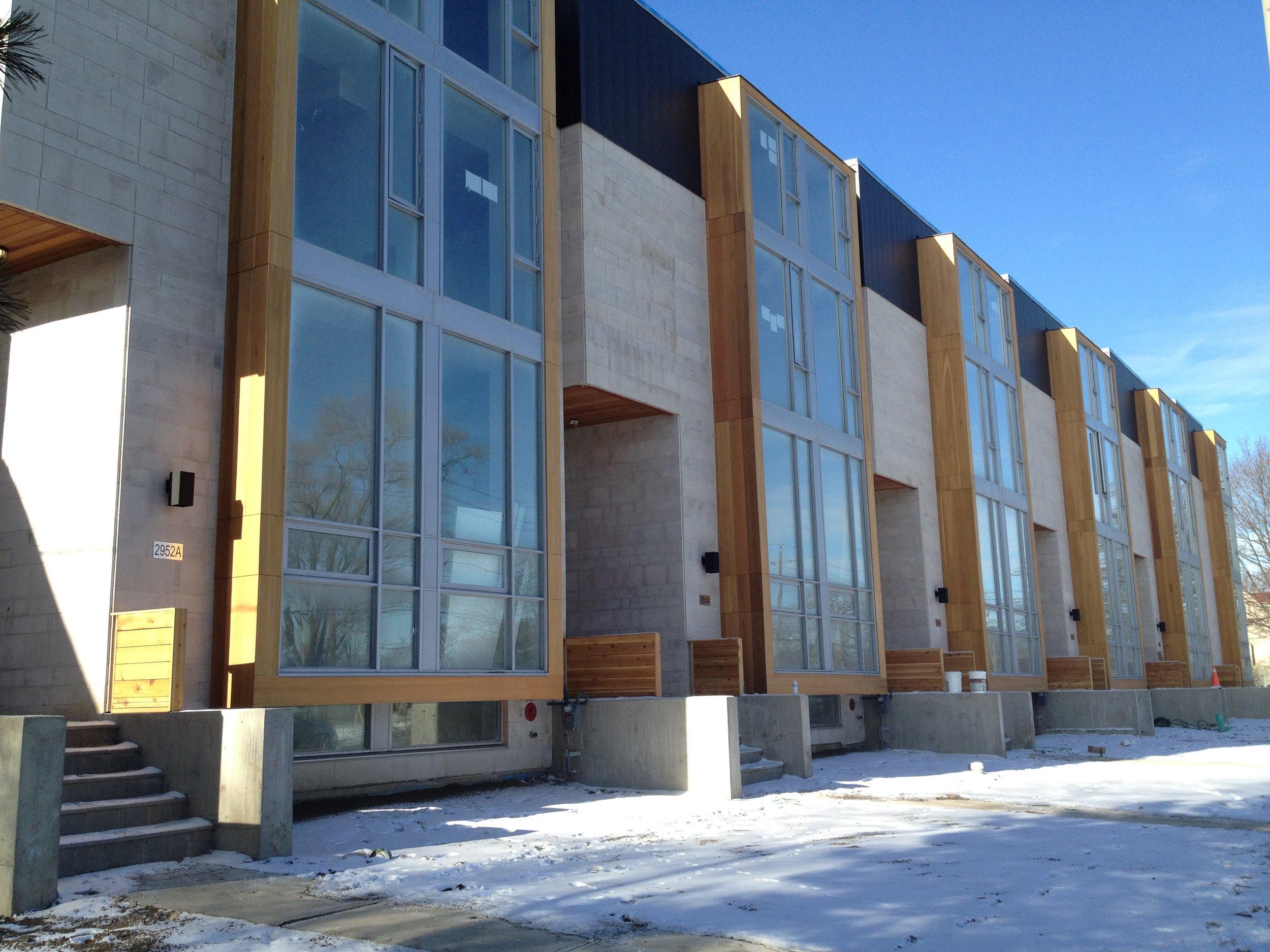 Custom modern townhouses in Mississauga, Ontario.