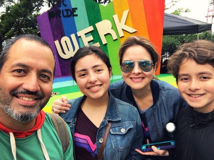 The Balta family celebrating Pride Month in New York City, June 2018. (Left to right: Hugo, Isabella, Adriana, Esteban)