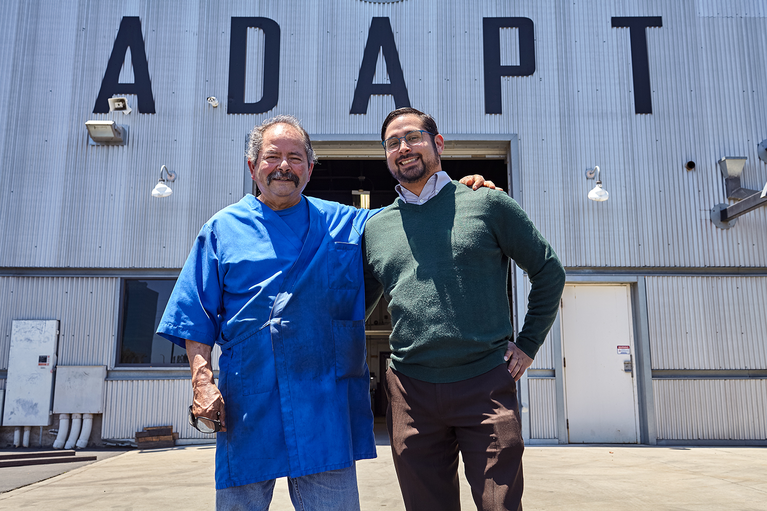 My dad (Manuel Escamilla senior) and myself in front of the machine shop where we worked together.