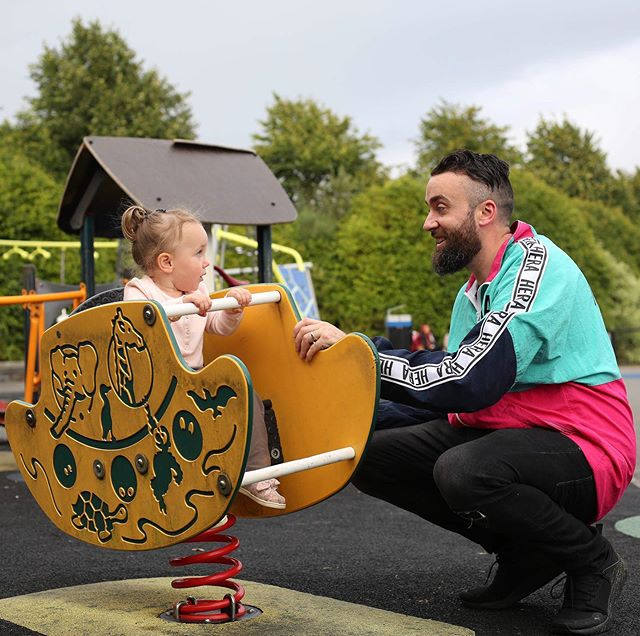 Last one from the @independent.ie's recent #feature before I hang up the oul' flamboyant @hera jacket for a few weeks 🤣 This is another great from the main man, @lorcanphoto and I'm loving the expressions 😧😮😀 Here I am reassuring Sally that this 'rocking horse-type' contraption is safe when my facial expression is definitely not one of confidence 😜 . . . . . . . . . . . . . . . . . . . . #dadlife #dadanddaughter #dad2summit #dadswithattitudes #dadliferules #dadsofinstagram #daddingit #irishdad #dairyallergy #milkallergy #allergylife #ireland #instagram #insta #instalikes #vegan #ericsnow #carlssonthepoodle #dairyallergydad #friday #instacool #naturephotography #photographer #photoshoot #photographersofinstagram