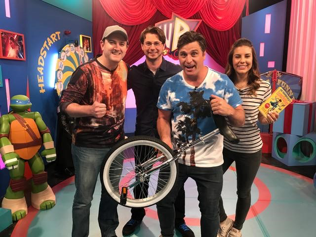 James rode a unicycle on Kids WB!