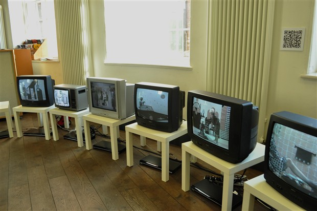 Installation at the Bluecoat Liverpool, UK. Part of  Moves '10: International Festival of Movement on Screen,  2010.