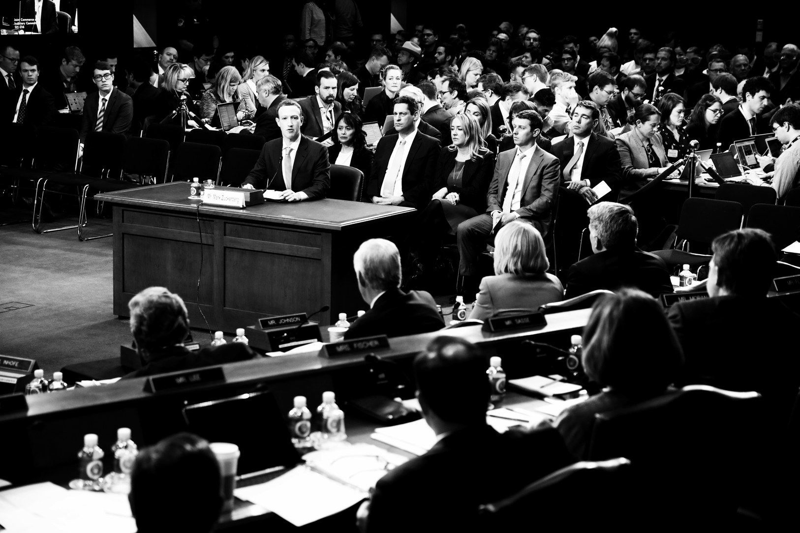 Mark Zuckerberg, the C.E.O. of Facebook, testifying before Congress about data privacy and security, in April.   Photograph by Mark Peterson / Redux for The New Yorker