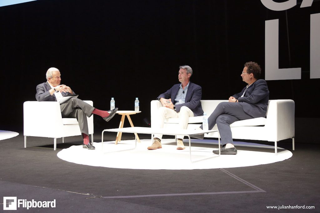 Left to right: Ken Auletta, Flipboard CEO Mike McCue and Whitney Museum Director Adam D. Weinberg at the Cannes Lions festival