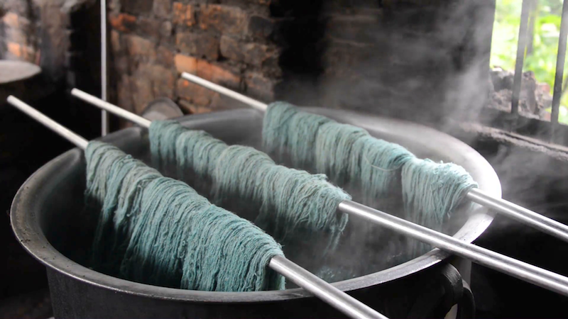 4. Dyeing   Once the wool has been spun to obtain yarn, it can be dyed either by synthetic dyes or natural dyes. Natural dyes uses natural plants, flowers, some insects or root plants.