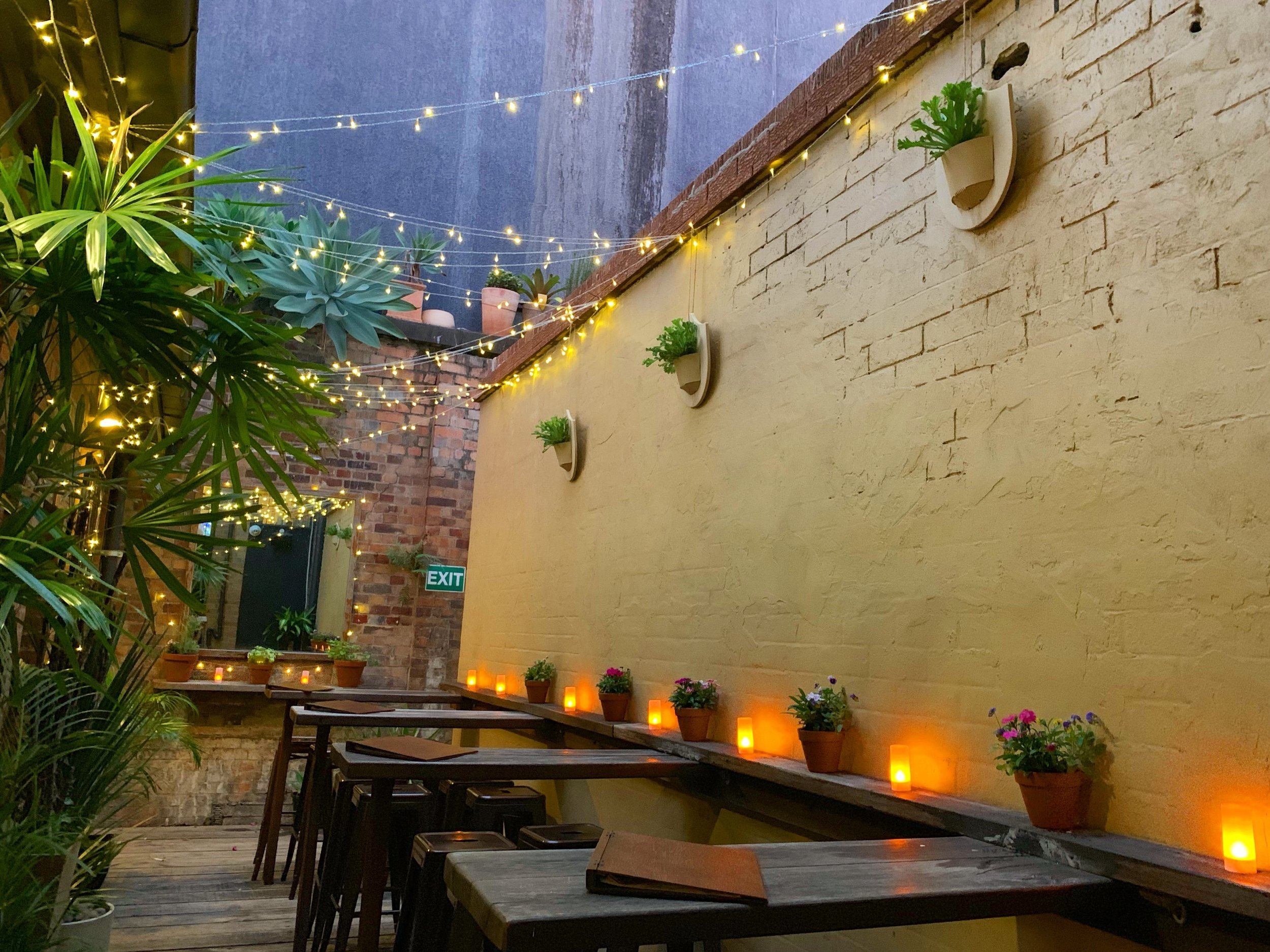 The cosy bar courtyard at Proud Henry in Fortitude Valley with fairy lights, candles, plants and exposed brick walls