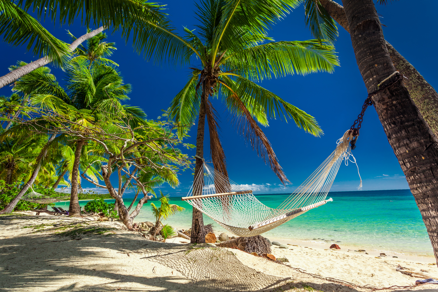 An empty hammock swinging between two palm trees on a white sandy beach in Fiji with crystal-clear water in the background