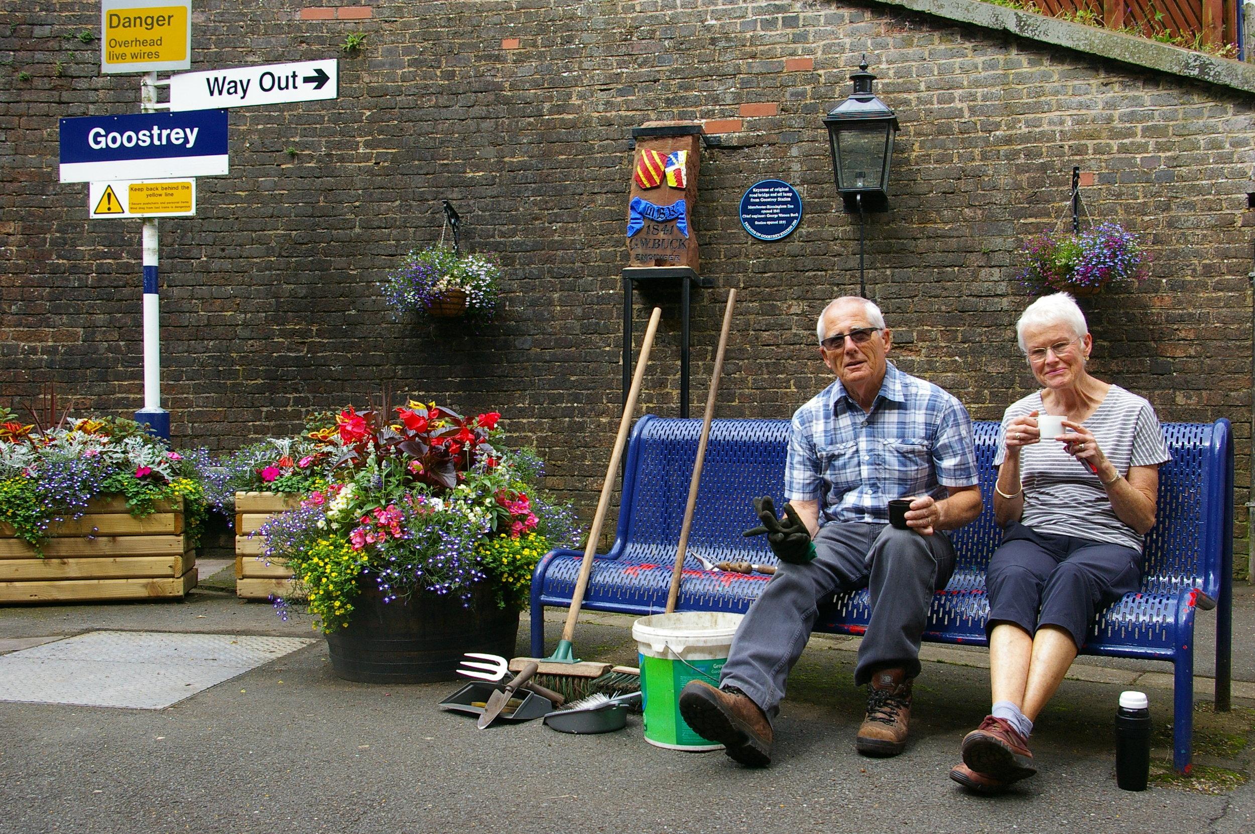 flowering plants and railway memorabilia create a pleasant seating area IMGP5275.jpg