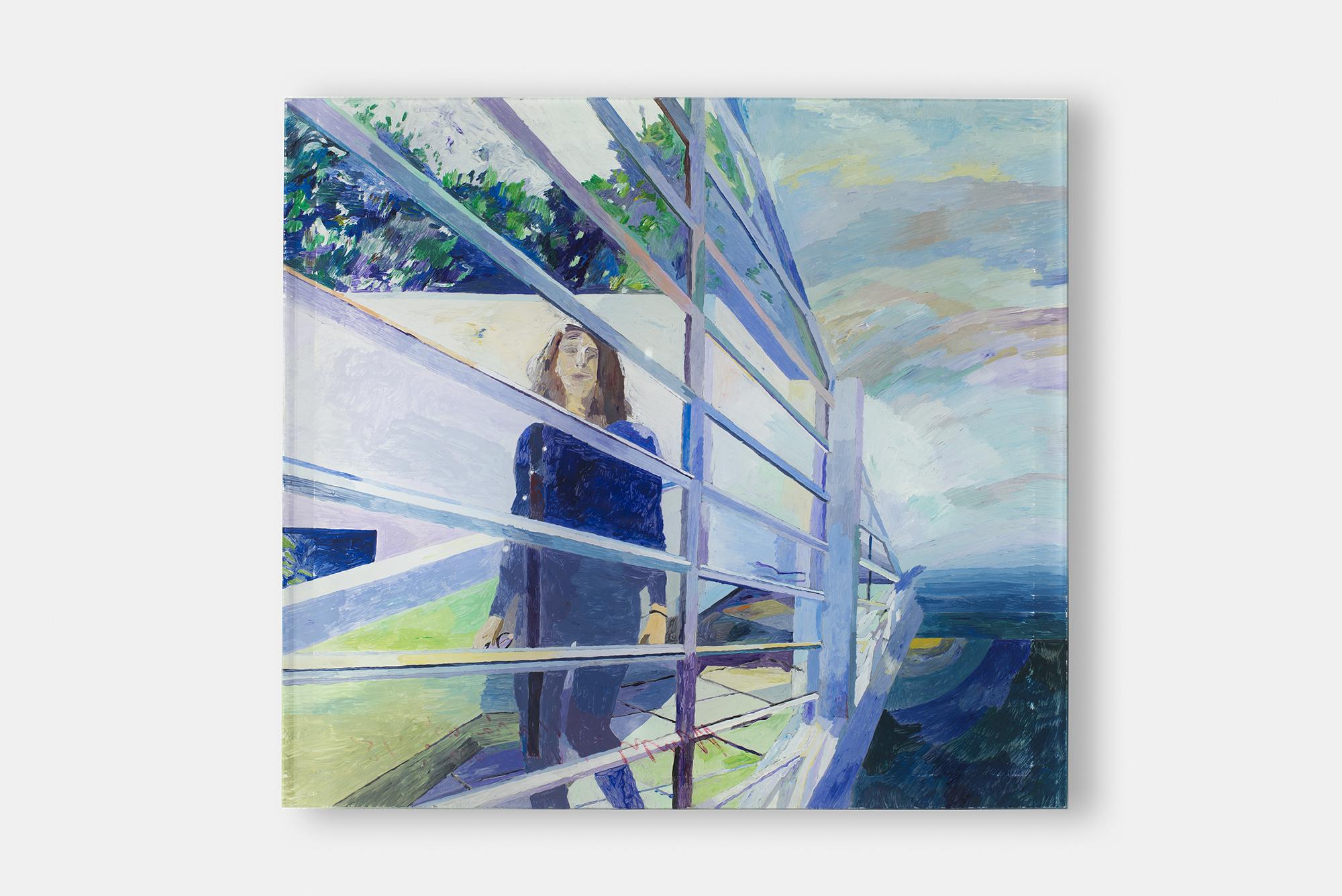 "Maria at Villa Savoye , 2018, Acrylic on plexiglass with epoxy, 12 5/8 "" x 11 3/8"""