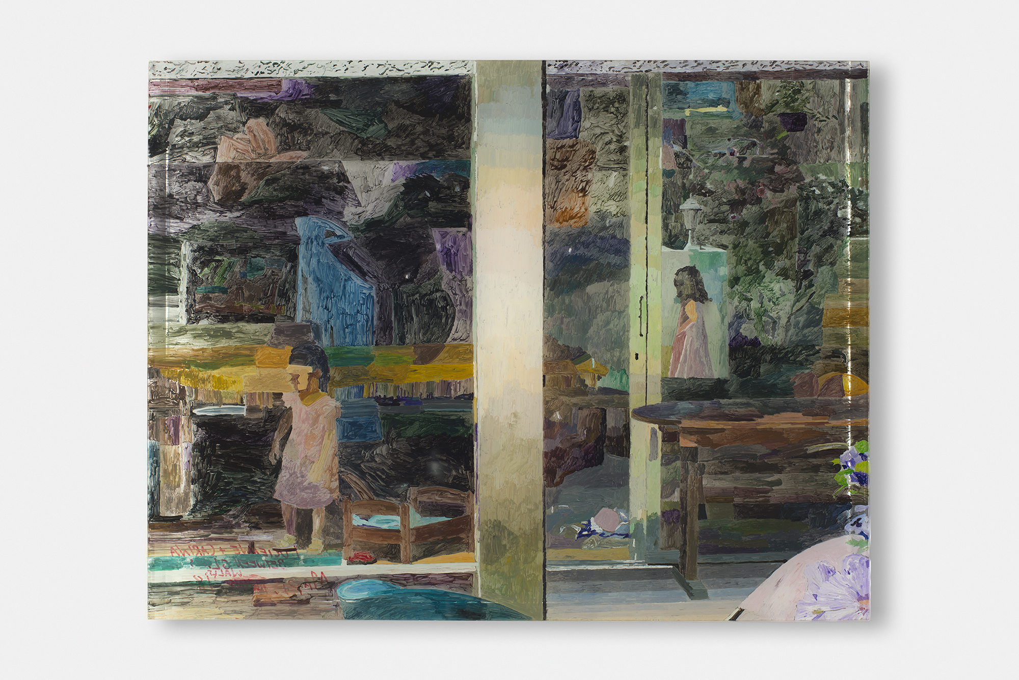"""Lucienne and Carina Between Glass Walls , 2018, Acrylic on plexiglass with epoxy, 20 1/2"""" x 16"""""""