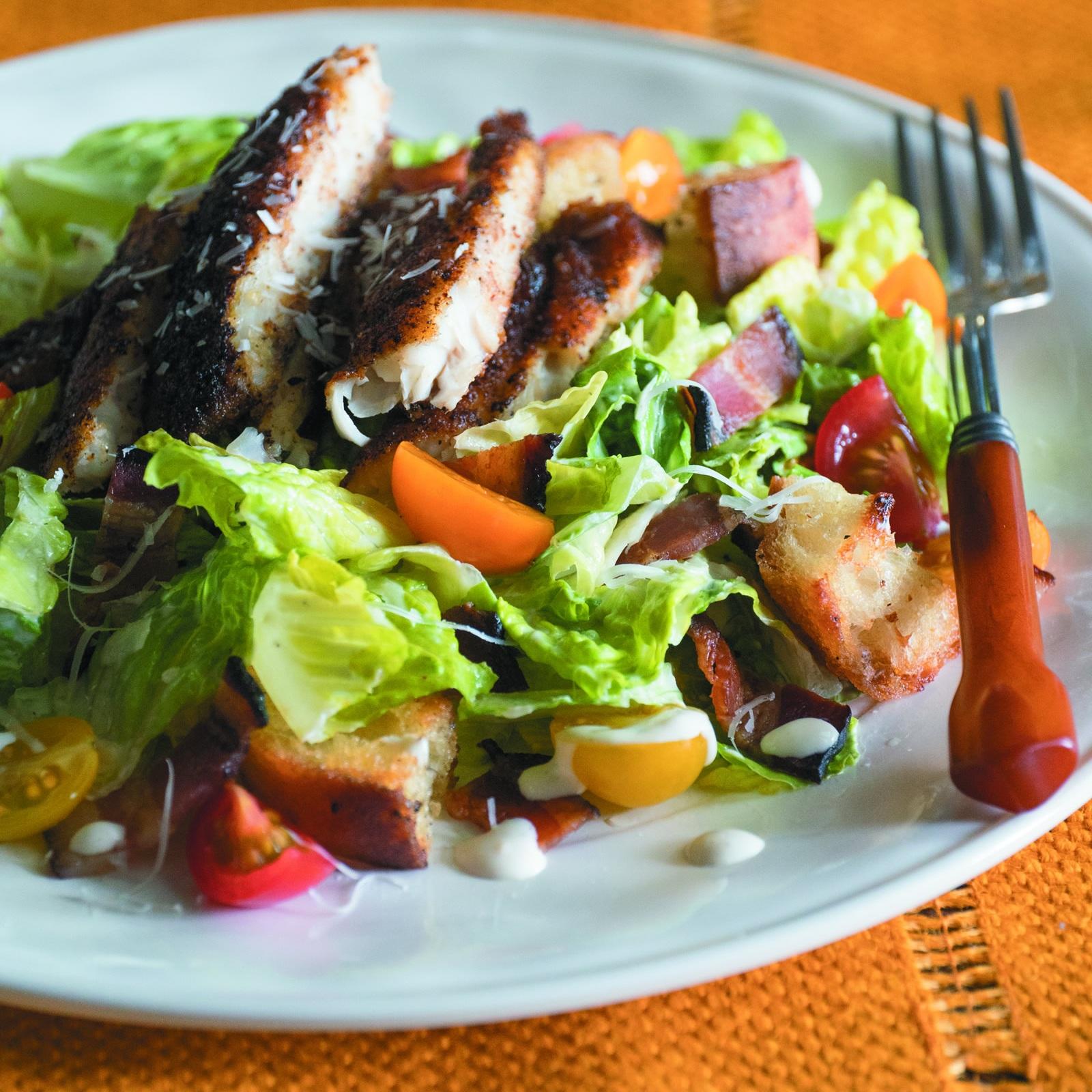 Blackened Catfish Caesar Salad -