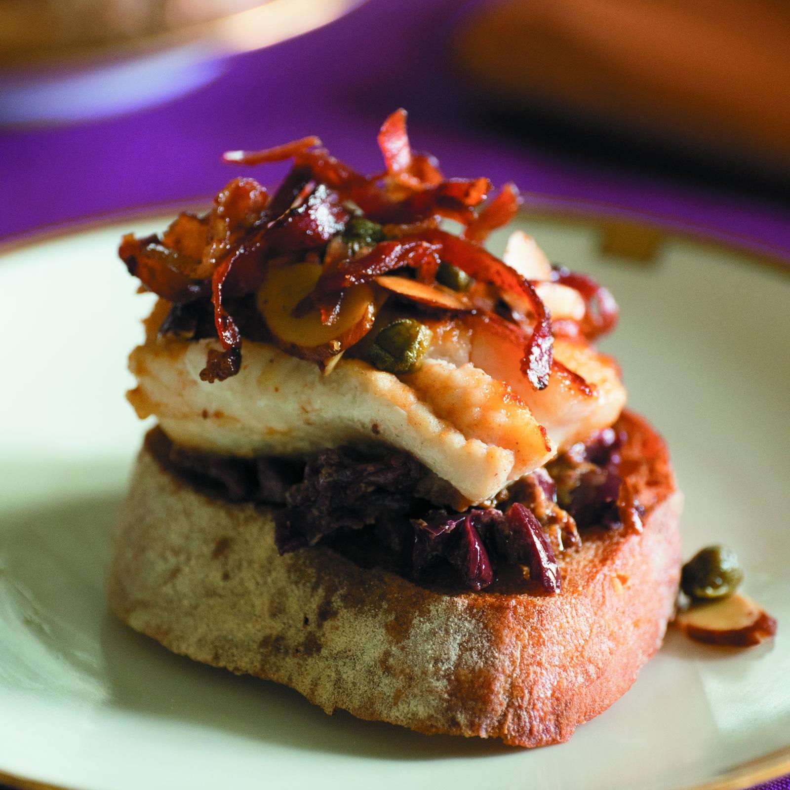 Pan-Seared Catfish on Black Olive Toast -