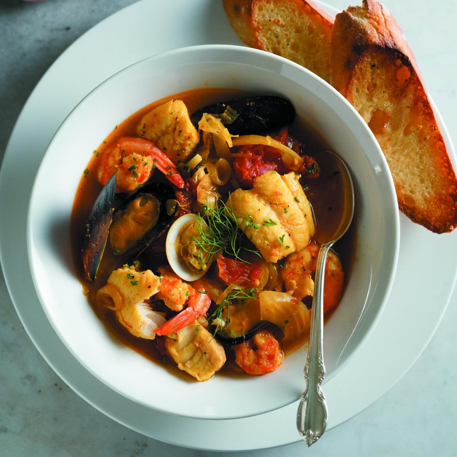 Catfish, Shrimp and Clam Bouillabaisse -